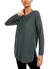 Eileen Fisher Curved-Hem Merino Wool Sweater