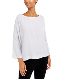 Eileen Fisher Bracelet-Sleeve Organic Cotton Top