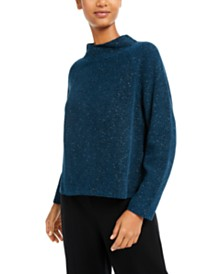 Eileen Fisher Organic Cotton Mock-Neck Textured Sweater
