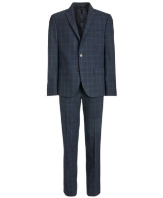 Big Boys Classic-Fit Stretch Navy Blue Windowpane Suit Jacket