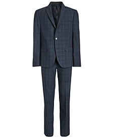 Big Boys Classic-Fit Stretch Navy Blue Windowpane Suit Separates