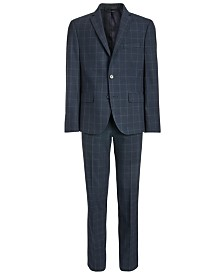 Lauren Ralph Lauren Big Boys Classic-Fit Stretch Navy Blue Windowpane Suit Separates