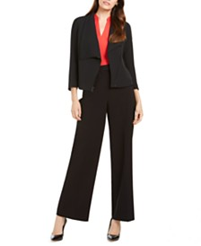 Anne Klein Asymmetrical Zipper Jacket, Sleeveless Blouse, & Wide-Leg Pants