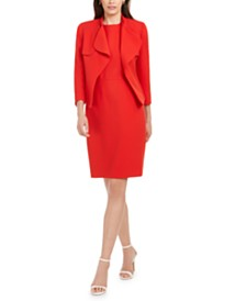 Anne Klein Crepe Cascading Jacket & Sheath Dress