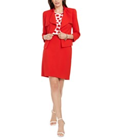 Anne Klein Cascade Crepe Jacket, Printed Blouse, & Skirt
