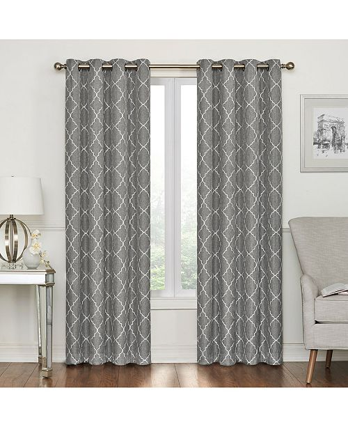 Regal Home Lakewood Embroidery Blackout Grommet Curtain