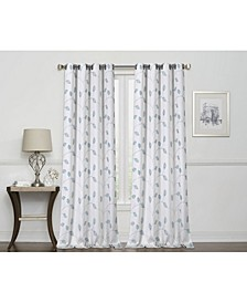 """Birch Embroidered Leaf 100% Blackout Grommet Curtain, 63"""" x 50"""""""