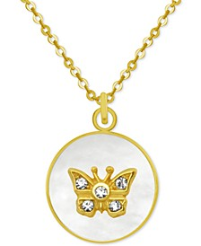 "Gold-Tone Crystal Butterfly Mother-of-Pearl 18"" Pendant Necklace"