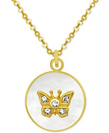 "PIXIE POSEY Gold-Tone Crystal Butterfly Mother-of-Pearl 18"" Pendant Necklace"