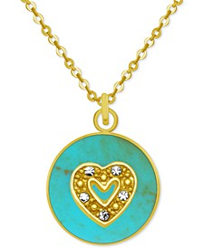 """Gold-Tone Crystal Heart 18"""" Pendant Necklace"""
