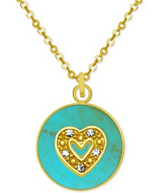 "PIXIE POSEY Gold-Tone Crystal Heart 18"" Pendant Necklace"