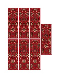 "Ottohome Patterned Non-Slip Pet-Friendly Stair Treads Set of 7, 9"" x 26"""