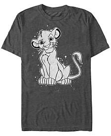 Disney Men's Lion King Simba Smirk Paint Splatter Short Sleeve T-Shirt