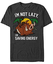Disney Men's Lion King Lazy Pumbaa Short Sleeve T-Shirt