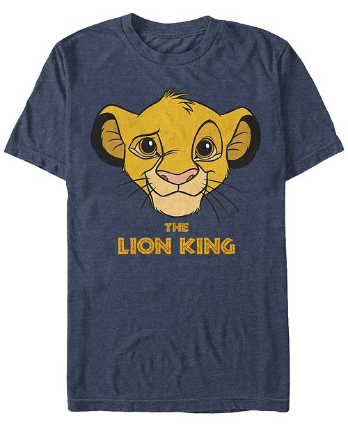 Lion King Disney Men's Young Simba Face Short Sleeve T-Shirt