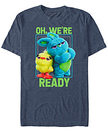 Disney Pixar Men's Toy Story 4 Ducky and Bunny We're Ready Short Sleeve T-Shirt