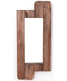 "Rustic Natural Barn Wood Framed Wall Mirror, 28"" High"