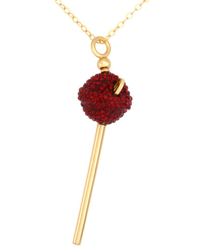 SIS by Simone I Smith 18k Gold over Sterling Silver Necklace, Red Crystal Mini Lollipop Pendant