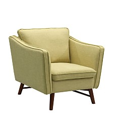 Today's Mentality Cabriole Mid-Century Sofa Chair in Walnut finish with   Fabric
