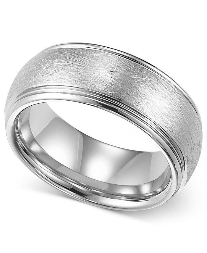 Triton - Mens Tungsten Ring, 8mm White Tungsten Comfort Fit Wedding Band