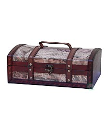 """Vintiquewise Old World Map Treasure Chest - 12"""" with Top Handle"""