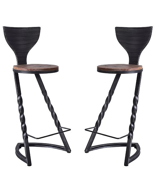 Admirable Perry Industrial Metal Barstool In Brushed With Rustic Wood Seat Set Of 2 Ibusinesslaw Wood Chair Design Ideas Ibusinesslaworg