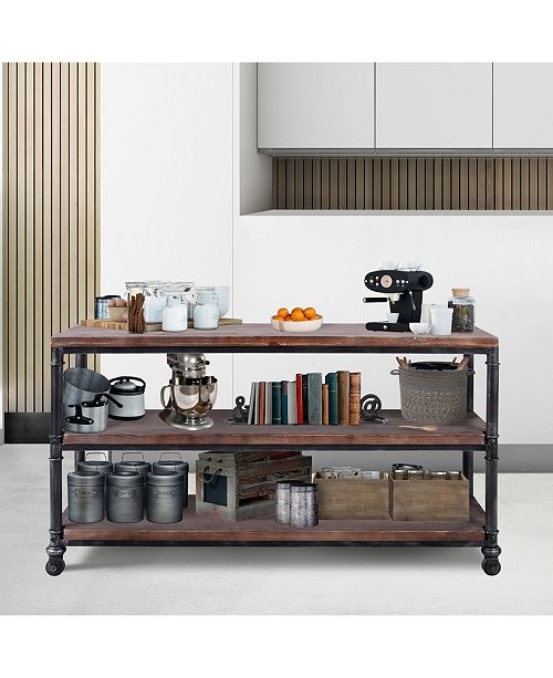 Antony Industrial Metal Kitchen Cart in Brushed with Pine Wood Shelves