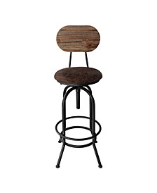 Adele Industrial Adjustable Barstool in Brushed with Fabric Seat and Rustic Pine Back