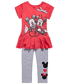 Little Girls 2-Pc. Mickey & Minnie Mouse Top & Leggings Set