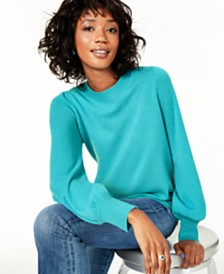 Charter Club Pure Cashmere Blouson-Sleeve Sweater, Regular & Petite Sizes, Created for Macy's