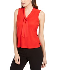 Anne Klein Sleeveless Tie-Neck Blouse