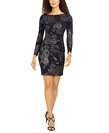 Petite Metallic Paisley-Print Dress