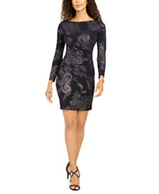 Jessica Howard Petite Metallic Paisley-Print Dress