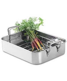 Martha Stewart Collection Open Rectangular Roaster with Stainless Steel Handles, Created for Macy's