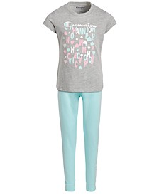 Little Girls 2-Pc. T-Shirt & French Terry Jogger Pants Set