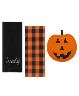 Farmhouse Living Jack-o-Lantern Pumpkin Pot Holder and Kitchen Towels, Set of 3
