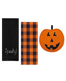 Farmhouse Living Jack-o-Lantern Pumpkin Pot Holder and Kitchen Towels, Set of 3