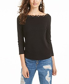 Juniors' Lace-Trimmed Pointelle-Knit Top, Created for Macy's