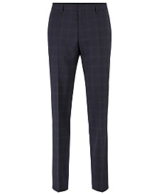 BOSS Men's Genius Slim-Fit Plain-Check Trousers