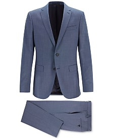 BOSS Men's Slim-Fit Micro-Patterned Merino Wool Suit