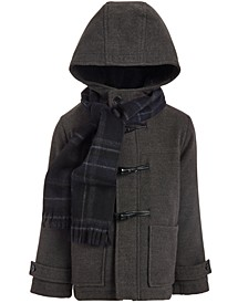 Little Boys Hooded Dress Coat & Scarf
