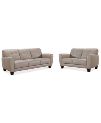 """Kaleb 84"""" Tufted Leather Sofa and 61"""" Loveseat Set, Created for Macy's"""