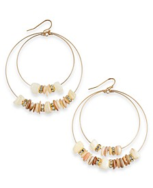 INC Gold-Tone Beaded Double Hoop Drop Earrings, Created For Macy's