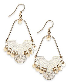 I.N.C. Gold-Tone Openwork Shaky Disc Drop Earrings, Created For Macy's