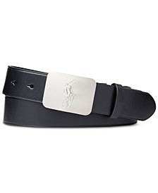 Men's Pony-Plaque Leather Belt