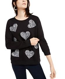 I.N.C. Sequin-Heart Sweatshirt, Created for Macy's