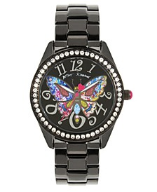 Multi-Colored Butterfly Motif Dial Black Watch 44mm