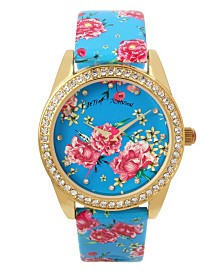 Betsey Johnson Blue Multi Floral Graphic Dial & Strap Watch 40mm