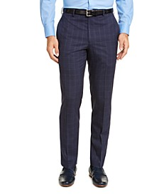 Men's Classic-Fit UltraFlex Stretch Blue Windowpane Dress Pants