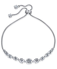 Silver-Tone Cubic Zirconia Bolo Bracelet, Created For Macy's